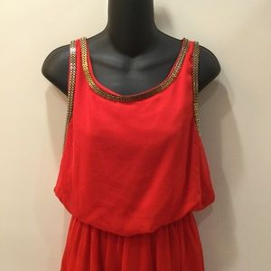 Red & Gold High / Low Tank Dress